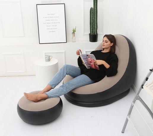 Надувное кресло-диван с подушкой для ног. Насос в комплекте