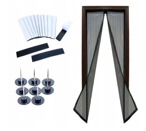 Moskitiera siatka do drzwi z magnesami czarna 210cm x100xm