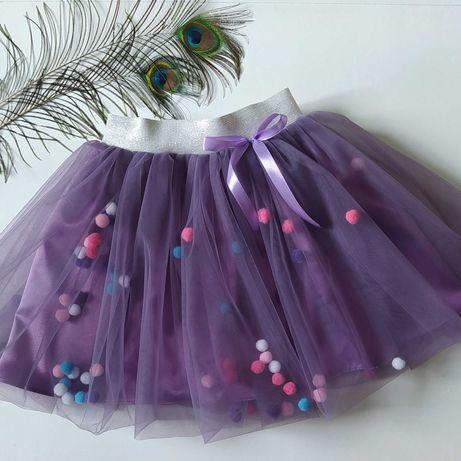 юбка из еврофатина цвет фрез нарядная праздничная на подарок