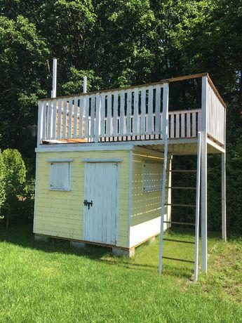 domek ogrodowy + ścianka wspinaczkowa + piaskownica - dla dzieci