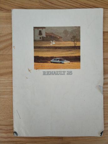 Katalog prospekt Renault 25 francuski 1990 rok