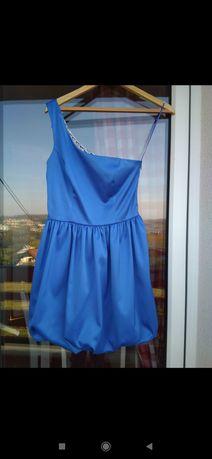 Sukienka kobaltowa na ramię