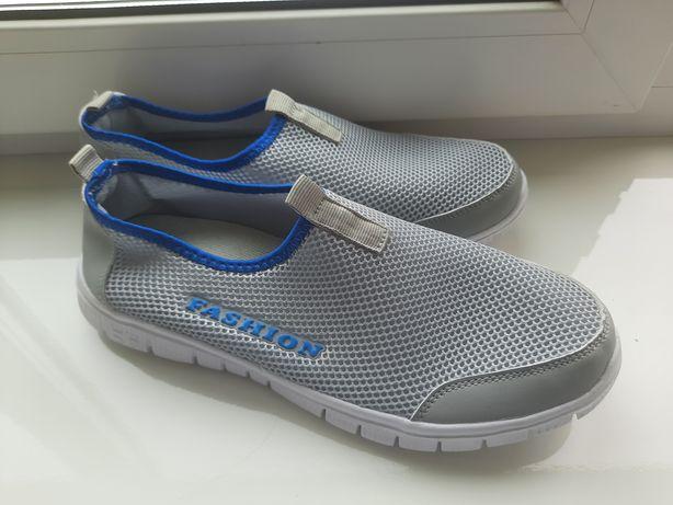 Літні кросівки без шнурків сірого кольору