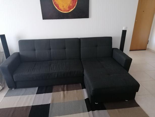 Sofa chaiselongue com cama e bau Lourini