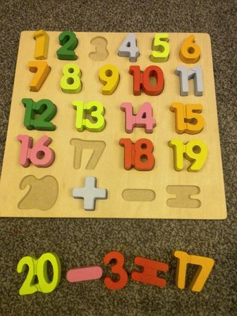 zestaw liczb z drewna, nauka liczenia