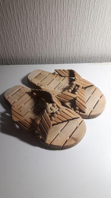 Деревянные ортопедические тапочки шлёпки Urus для сауны и бани