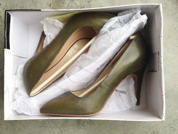 NOWE SKÓRZANE szpilki buty na obcasie BRONX rozm. 37 NOWE
