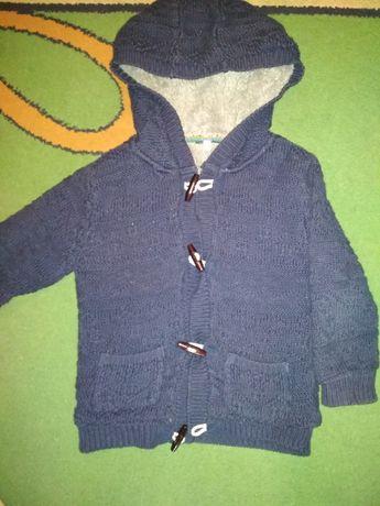 Курточка-кофта вязаная на меху р.2 на 3-4 года