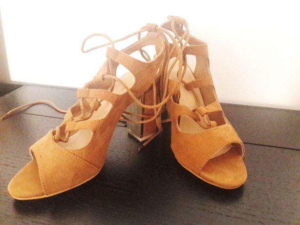 Nowe sandały wiązane sznurowane obcasy słupek 36