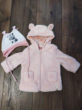 Bluza niemowlęca polarowa dla dziewczynki 62 68 czapeczka