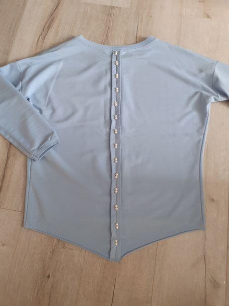 Błękitna bluza perełki r38-40