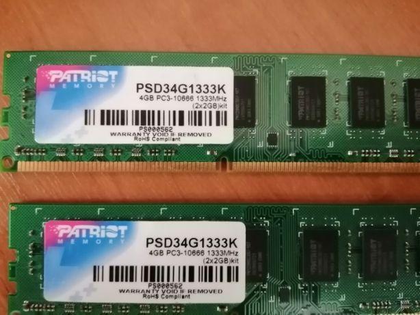 Оперативна память Patriot 4gb(2x2) 1333mhz PSD34G1333K PC3-10666