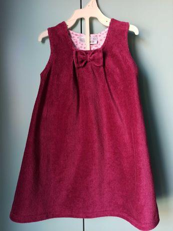 Sztruksowa sukienka z kokardą