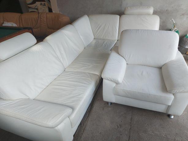 Narożnik skórzany +fotel (skóra naturalna)
