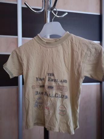 Śliczna bluzeczka chlopieca beżowa z nadrukiem