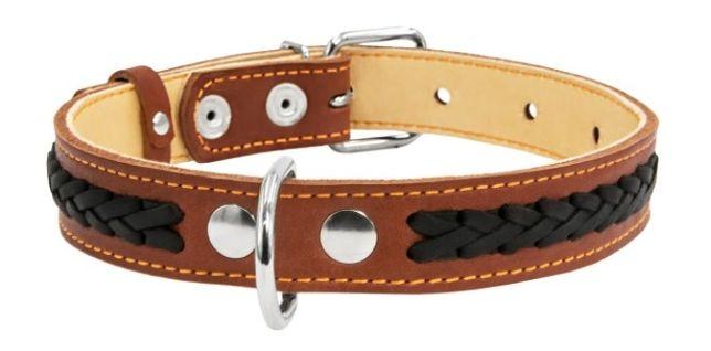 Ошейник Collar двойной с украшениями (25мм/38-50 см), коричневый