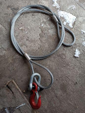 Zawiesie linowe jednocięgnowe hak obrotowy pętla 5T 4m