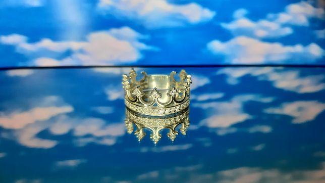 Кольцо серебряное, корона, новое