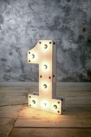 Единичка на годик, цифра 1, одиничка, цифры с подсветкой, с лампочками