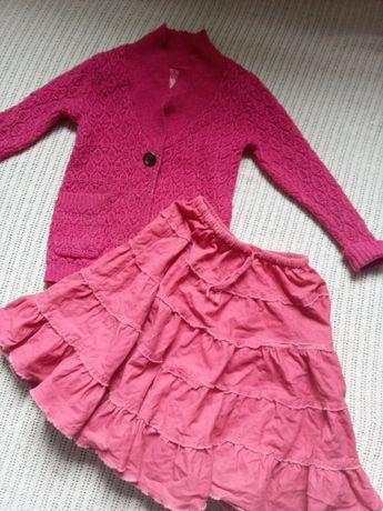 Кардиган вязаный,теплая юбка для девочки 7 лет