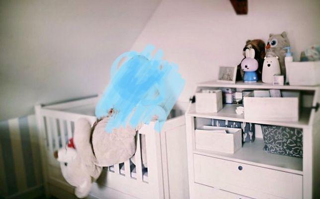 Łóżeczko dziecięce drewniane białe lux Błękitna komoda