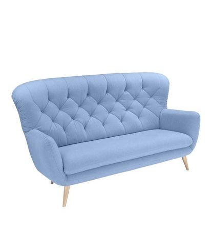 Sofa kanapa 3 osobowa błękitna niebieska pikowana glamour