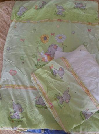Постельное в детскую кроватку детское +одеяло+ подушка
