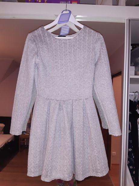 Sukienka szara sweterkowa