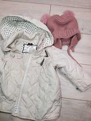 Kurtka pikowana Mothercare rozm. 80 cm, czapka Zara