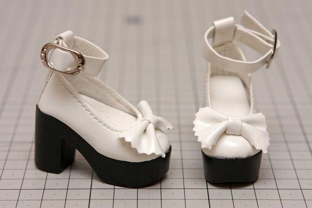 Buty dla lalki BJD Minifee 1/4 białe z kokardką
