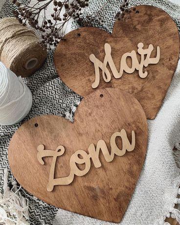 Rustykalna tabliczka serce: MĄŻ & ŻONA