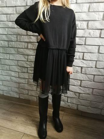 Sukienka  Zara 128 stan idealny bluza łączona z tiulem
