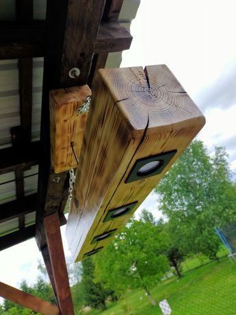 Lampa podwieszana z drewna