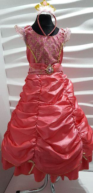 Suknia balowa Aurora śpiąca królewna 3-5lat r.110 opaska diadem bal