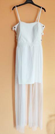 Biała sukienka seksi okazjonalna mgiełka