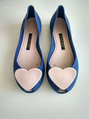 baletki balerinki meliski 38 niebieskie różowe serca wiosna