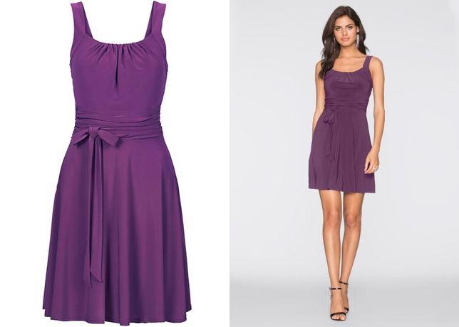 (16) Fioletowa sukienka do kolan 40-42 NOWA