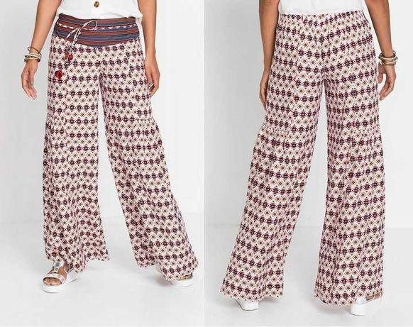 17) Kolorowe spodnie wiskoza troczki 44