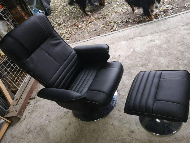 Fotel z podnóżkiem Nowy ekoskóra