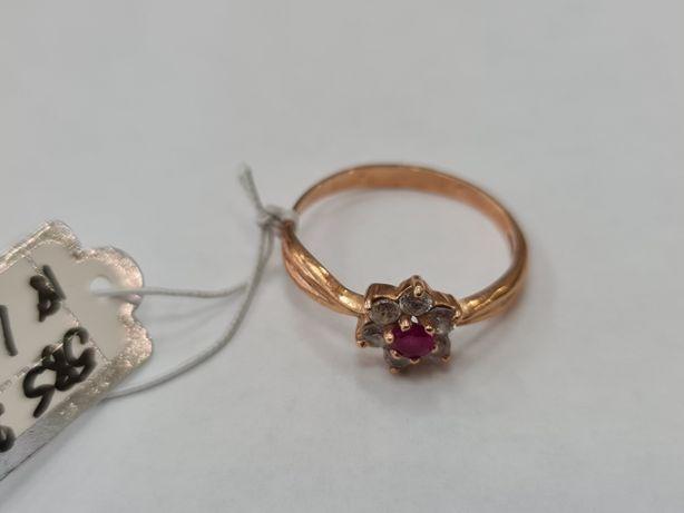 Klasyczny złoty pierścionek damski/ 585/ 2.20 gram/ R18/ Cyrkonie