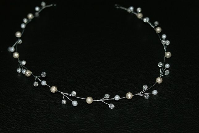 opaska ślubna ozdoba do włosów wianek ślubny biżuteryjny diadem
