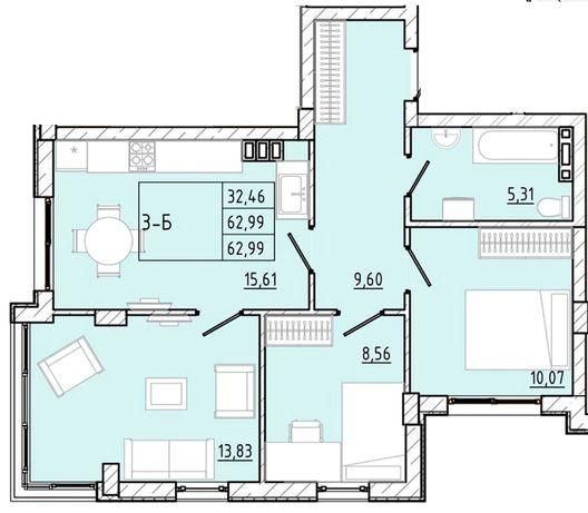 Продам 3-комнатную квартиру в новом доме на Марсельской!