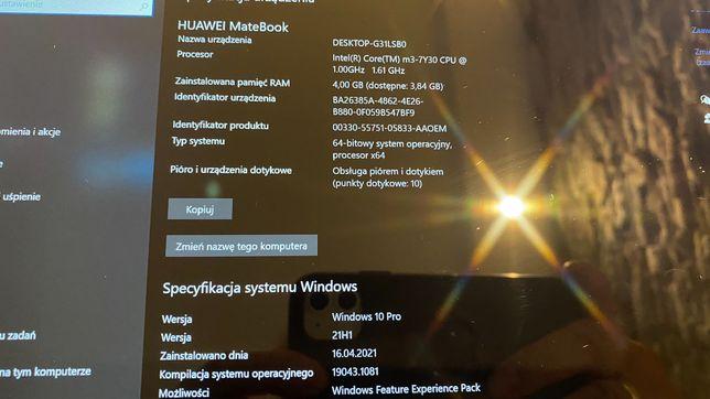 Tablet Huawei matebook 12,stan idealny,core m3,4 GB ram,128 ssd