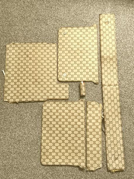 Materiał po podrabianej torebce Gucci i zapalniczka