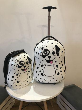 Walizka i plecak Dalmatyńczyk
