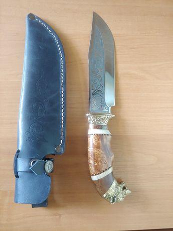 Нож охотничий Волк ручной работы с кожаным чехлом ручная работа
