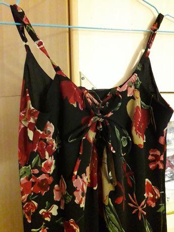 Czarna sukienka długa w kwiaty lato