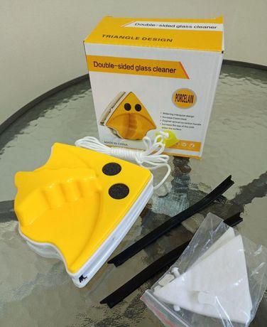 Щётка магнитная для мытья окон для двустороннего мытья в желтом