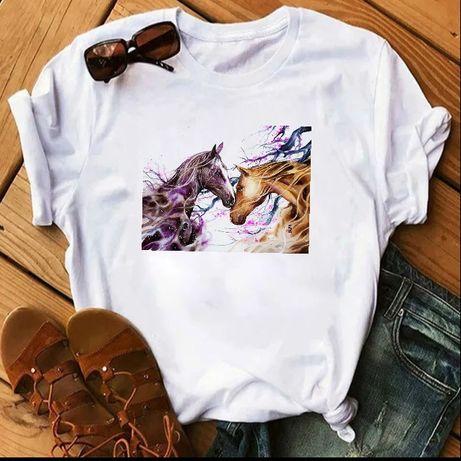 Koszulka t-shirt biała koń konie S-XXL