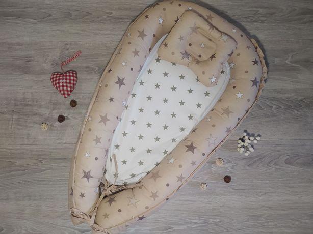 Кокон+подушка для новорождённых цветов много